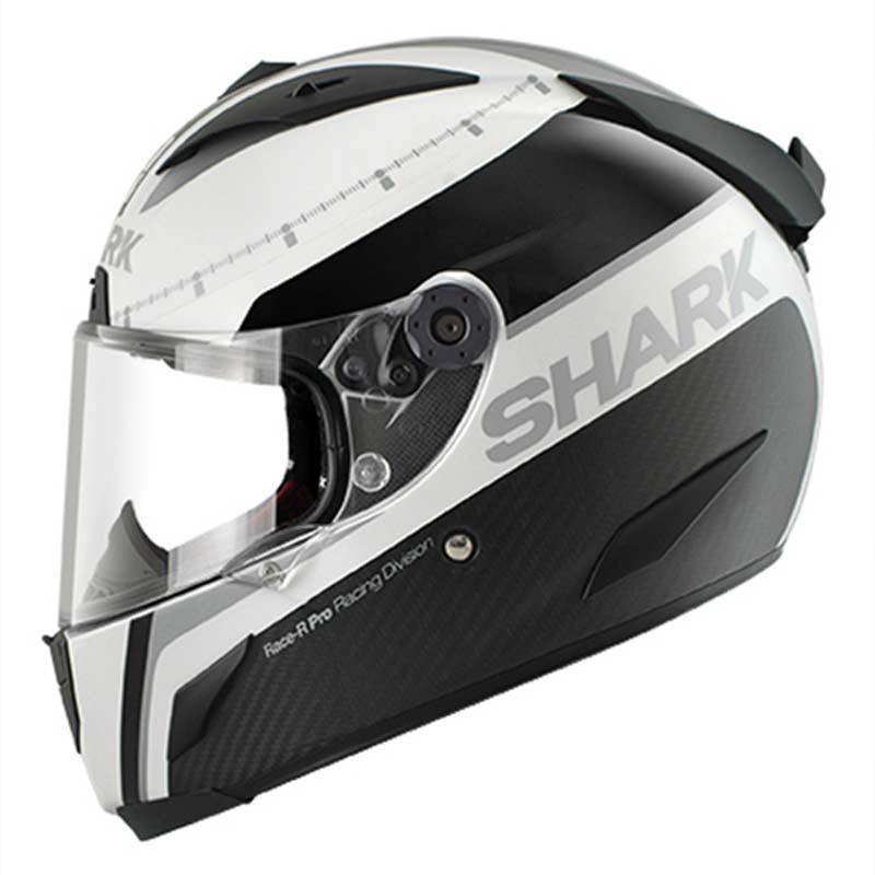 Shark Race-R Pro Carbon Racing Division Dual Touch Casco Nero Bianco Argento XS