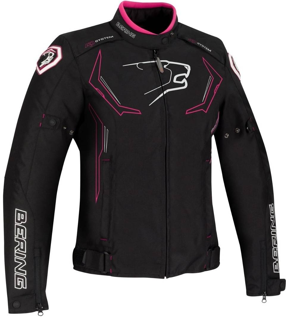 Bering Guardian Giacca donna moto tessile Nero Bianco Rosa 38