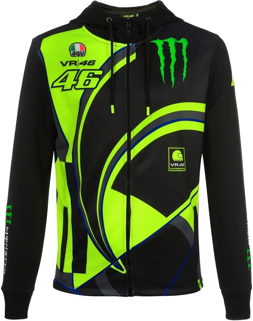 VR46 Monster Replica Felpa con zip Nero XL