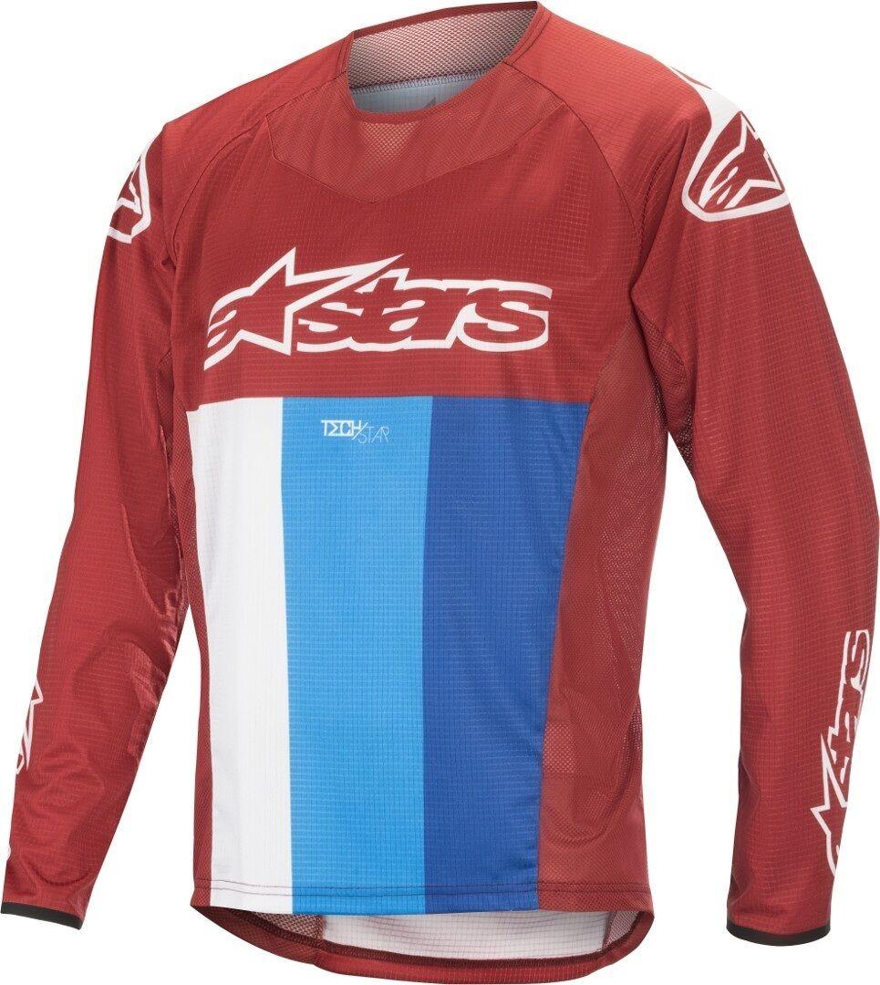 Alpinestars Techstar Bicicletta di LS Jersey Rosso Blu 2XL