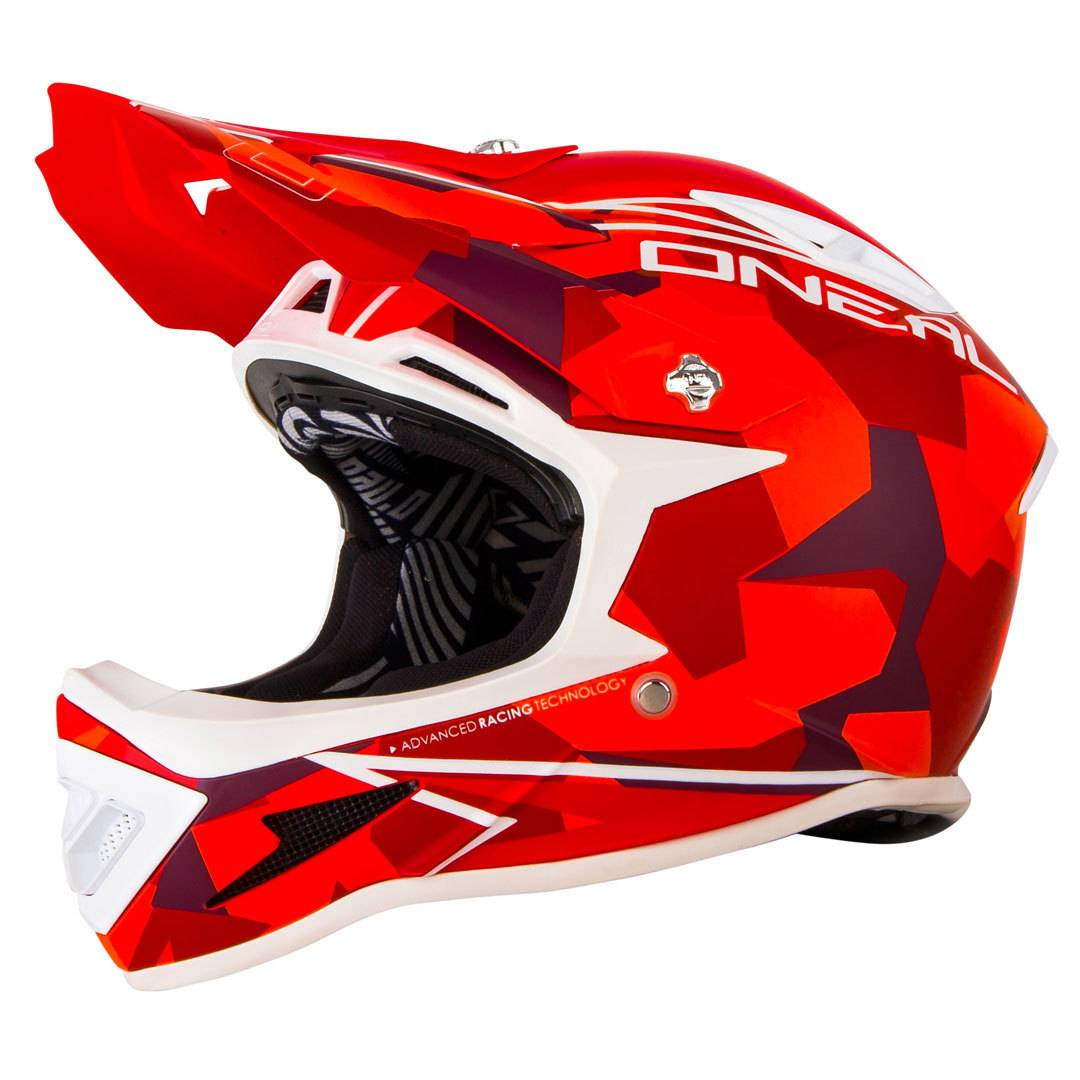 Oneal O´Neal Warp Edgy Camo Casco in discesa Rosso XL