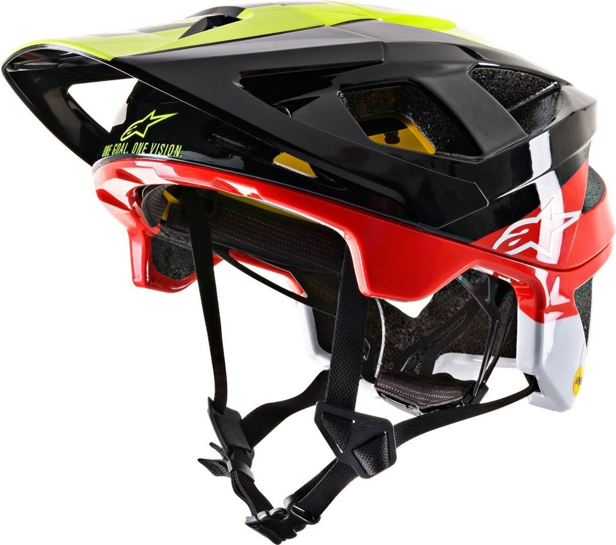 Alpinestars Vector Tech Pilot MIPS Casco da bicicletta Nero Rosso Giallo S