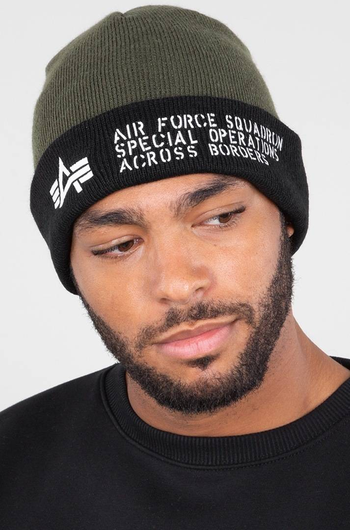 Alpha Air Force Beanie Verde unica taglia