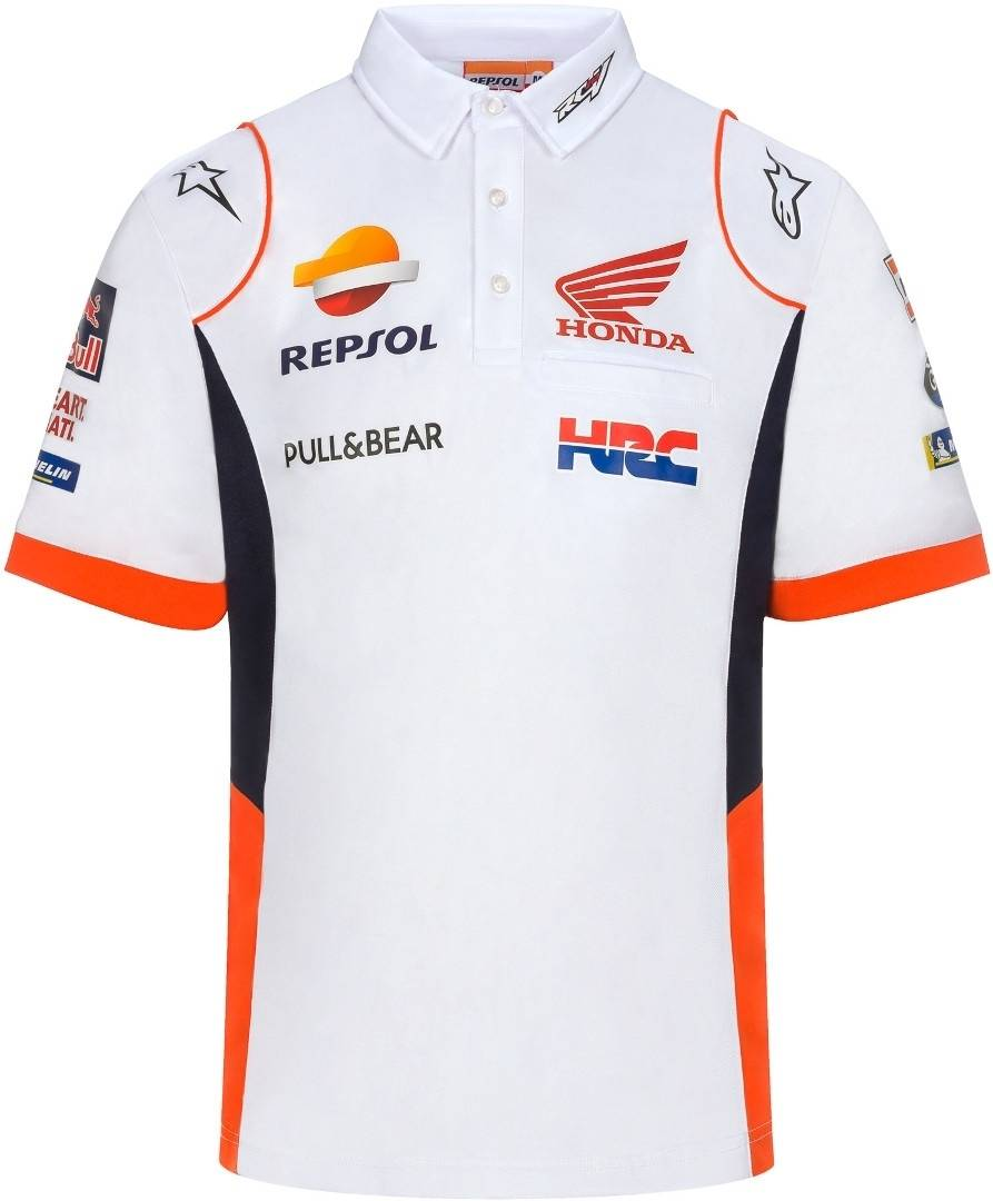 GP-Racing Repsol Replica Polo Bianco Blu Arancione L