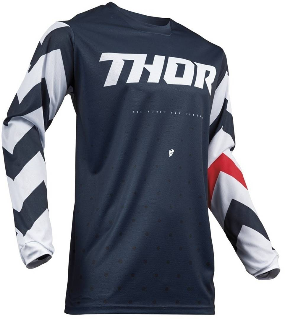Thor Pulse Stunner S9Y Midnight Gioventù Jersey Bianco Blu 2XS