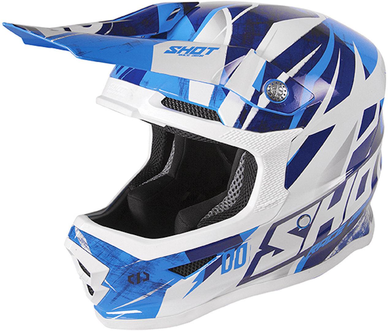 Shot Furious Ventury Casco Motocross per bambini Bianco Turchese Blu M