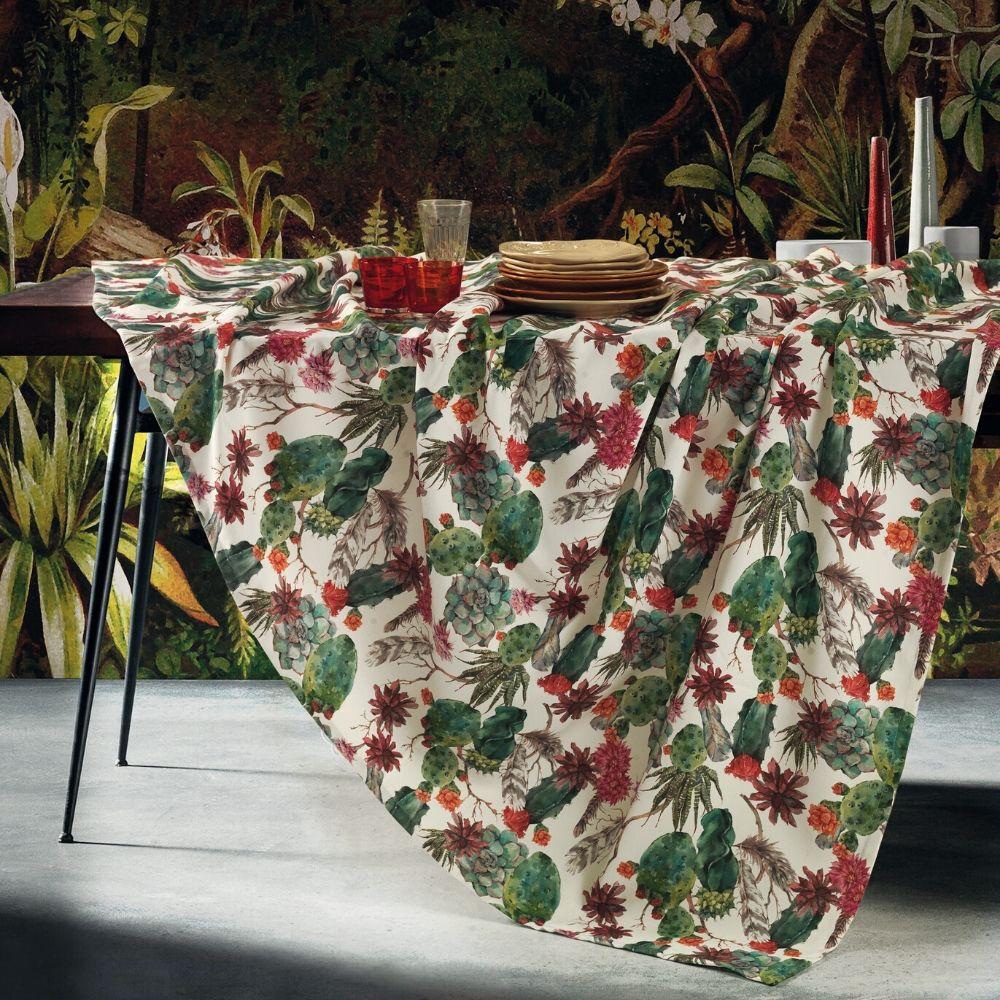 evergreenweb tovaglia antimacchia impermeabile in cotone 100% naturale, design piante grasse, decorazione della tavola da pranzo   cactus