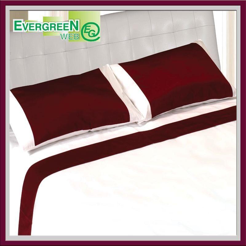 Evergreenweb Lenzuola in Cotone con Balza in RASO Rosso