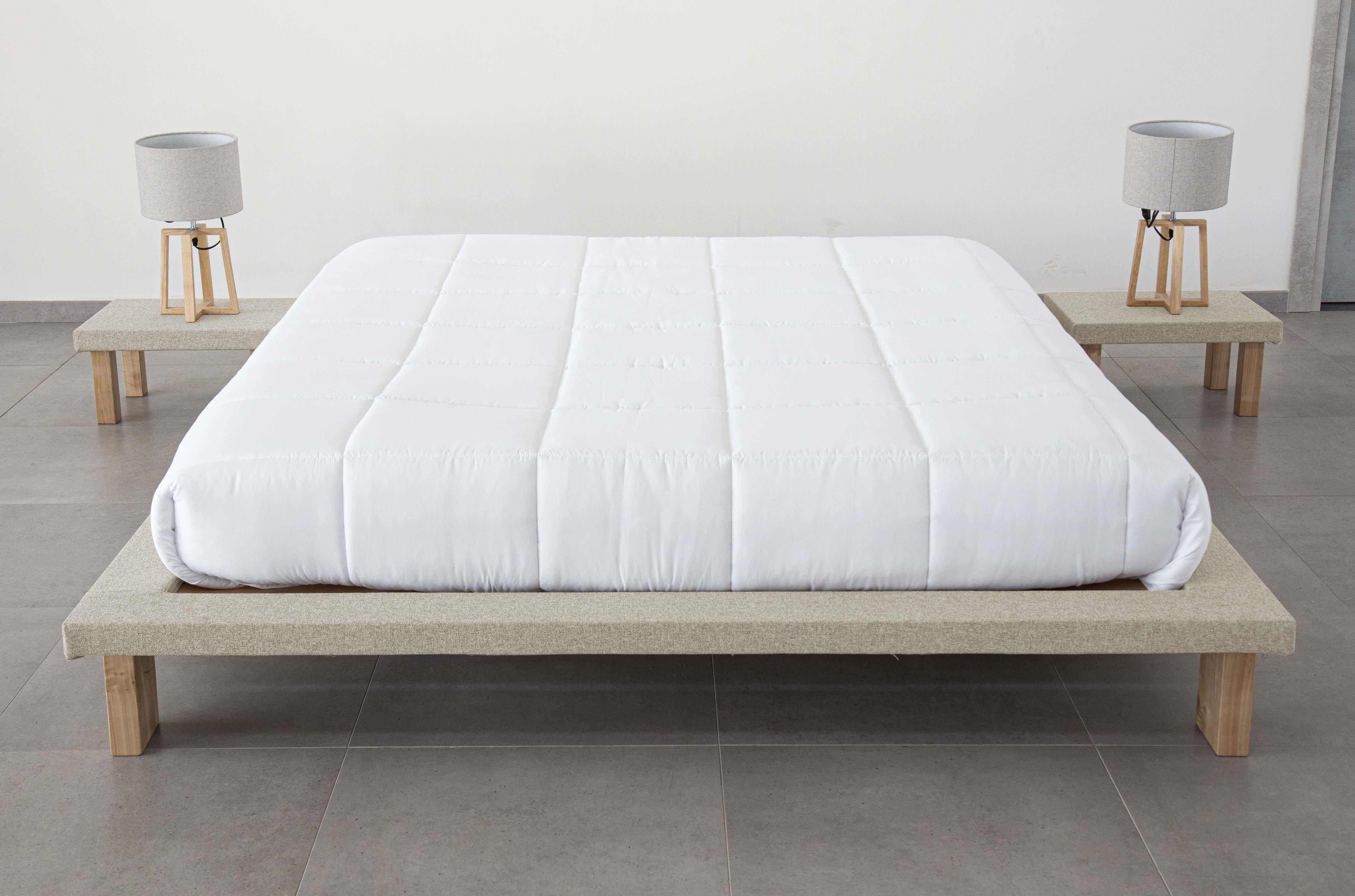 letto tatami matrimoniale in legno naturale alto 25 cm con comodini inclusi   tami