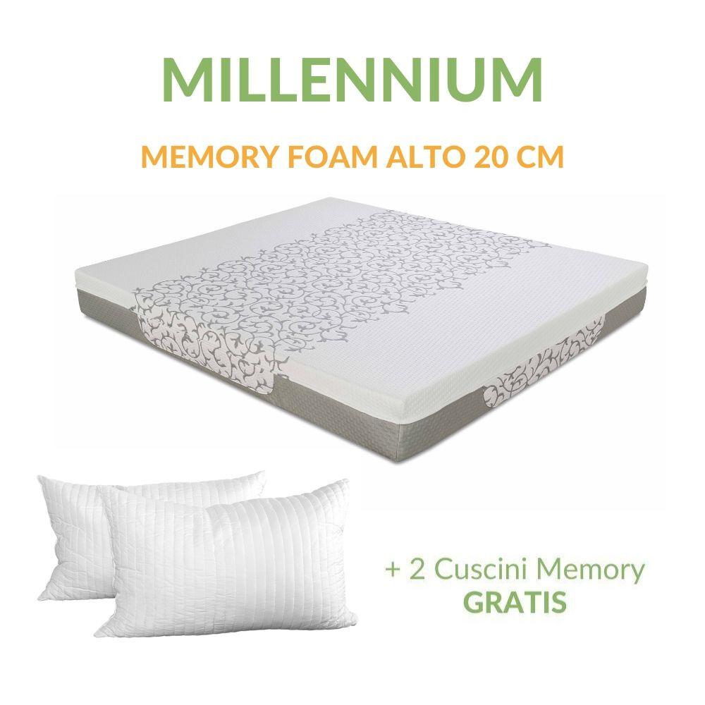 evergreenweb materasso memory foam ortopedico massaggiante alto 20 cm con cuscini memory gratis, rivestimento sfoderabile lavabile tessuto antiacaro e anallergico   millennium