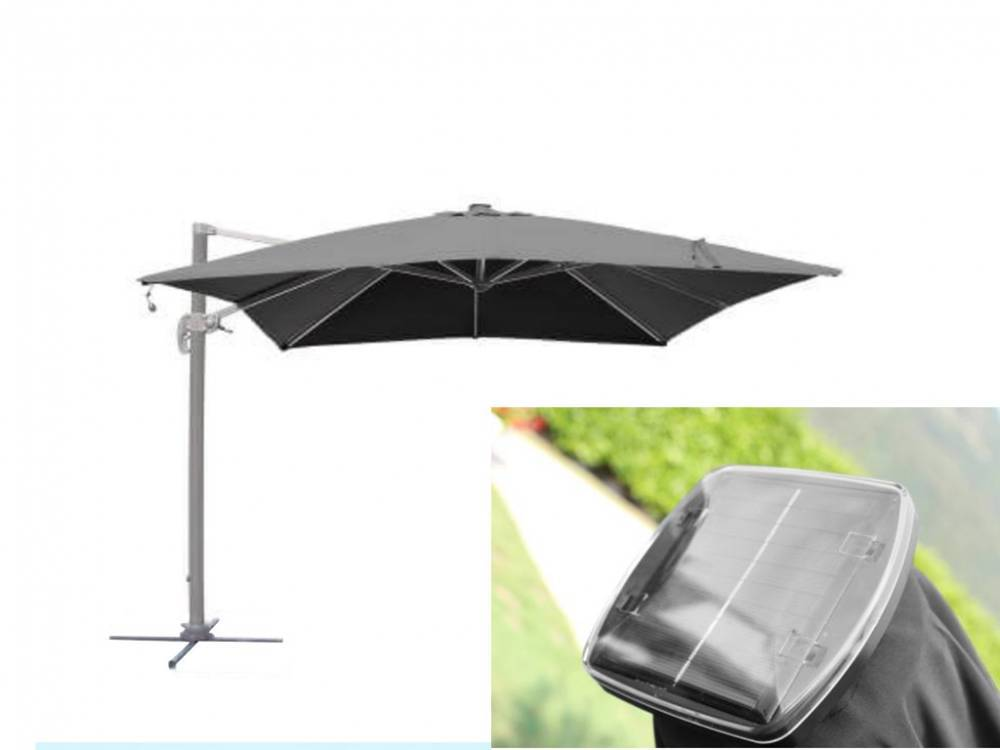 cosma ombrellone pitagora con braccio laterale 3x3 antracite/grigio om807223