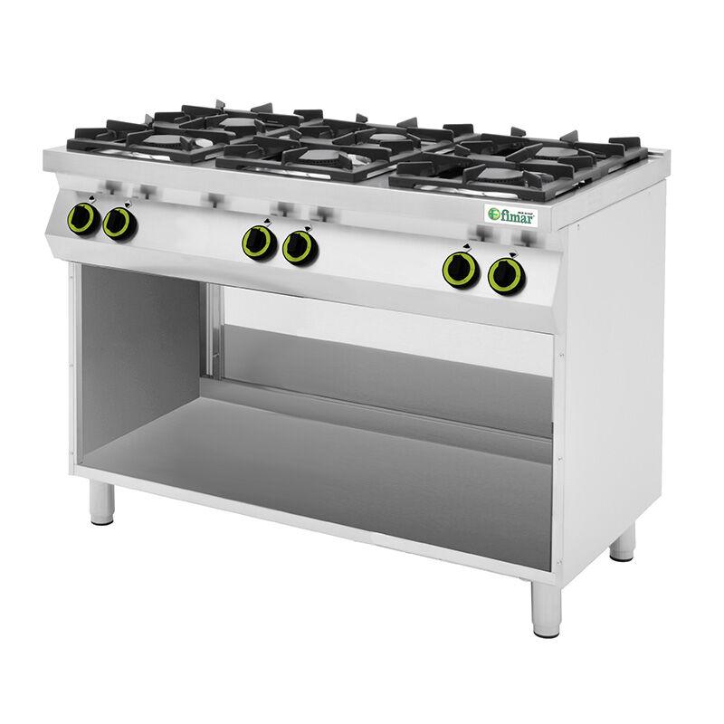 FIMAR Cucina a Gas 6 Fuochi con Vano a Giorno - Acciaio Inox