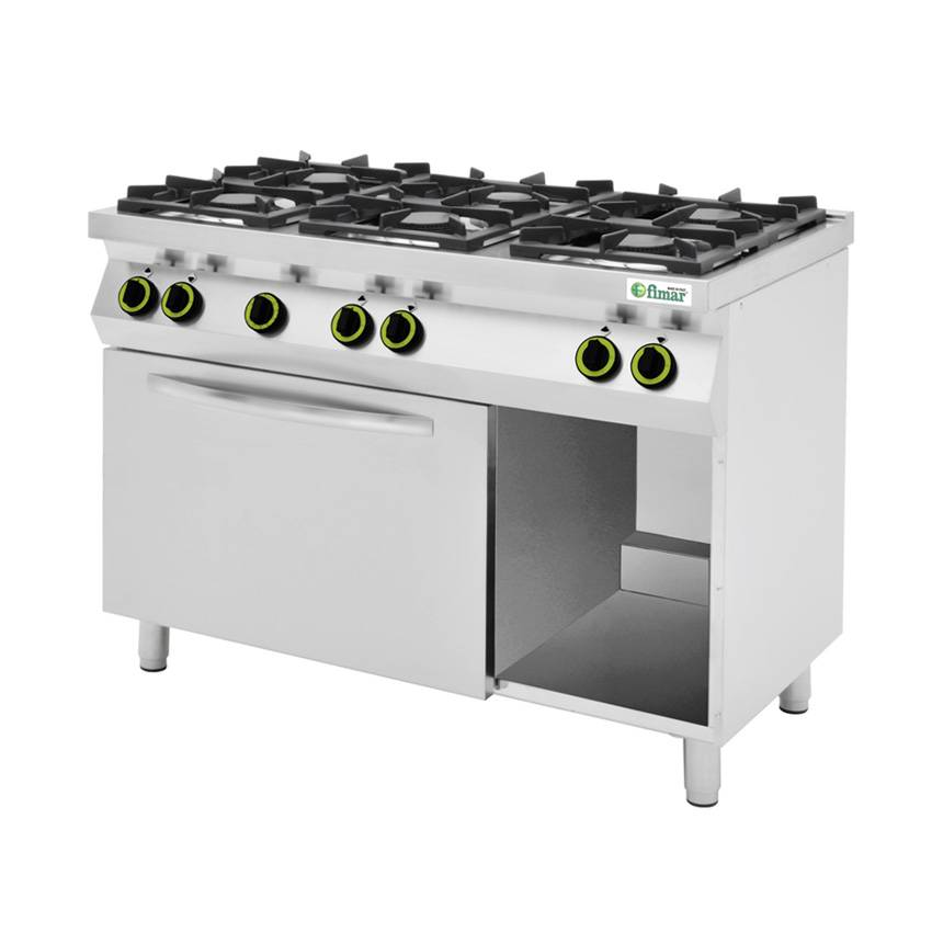 FIMAR Cucina a Gas 6 Fuochi con Forno Elettrico e Vano a giorno