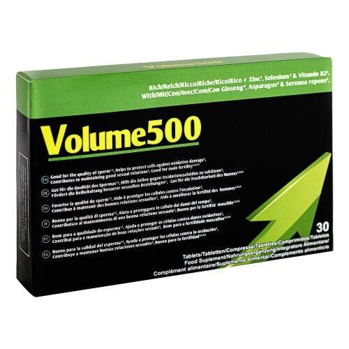 500 Cosmetics Volume 500 Compresse per Aumentare Liquido Seminale - Qualità e Volume del Liquido Seminale - Con Ginseng e Zinco - 30 Compresse per Eiaculare di Più
