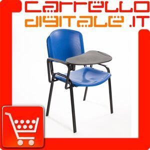 Sedie Impilabili Economiche Prezzi.Sedia Impilabile In Plastica Blu Con Ribaltina Conferenze