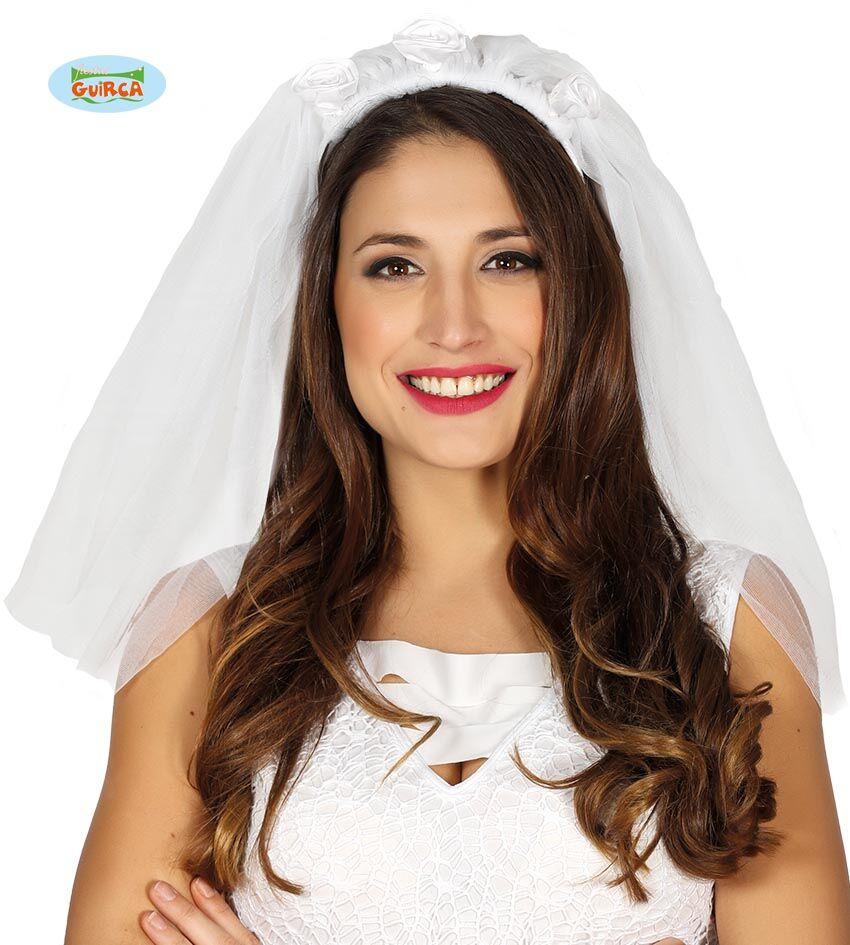 FIESTAS GUIRCA S.L. Velo Da Sposa Bianco Con Roselline