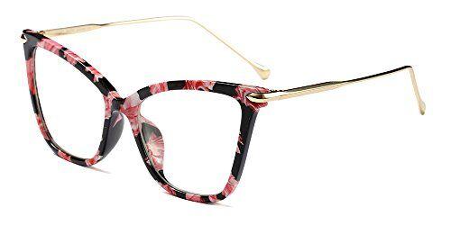 BOZEVON Classico Retr Moda Lente Trasparente Occhiali da Sole per Donna Occhio di gatto Oversized Occhiali,