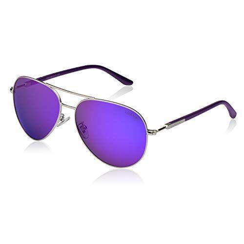 LUENX Aviator, Occhiali da sole polarizzati unisex, montatura larga da 60 mm in metallo, adatti per un uso alla guida, in spiaggia, come accessorio alla moda, per viaggiare Purple Mirror -8 L