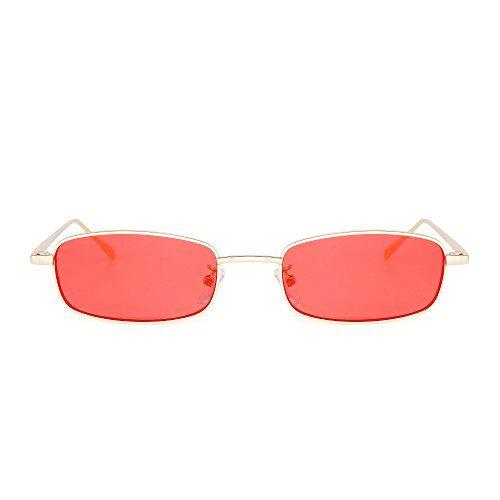 JIM HALO Moda Donna Occhiali da Sole Lenti Piccole Cornice Rettangolare in Metallo per Uomo Unisex (Oro/rosso)