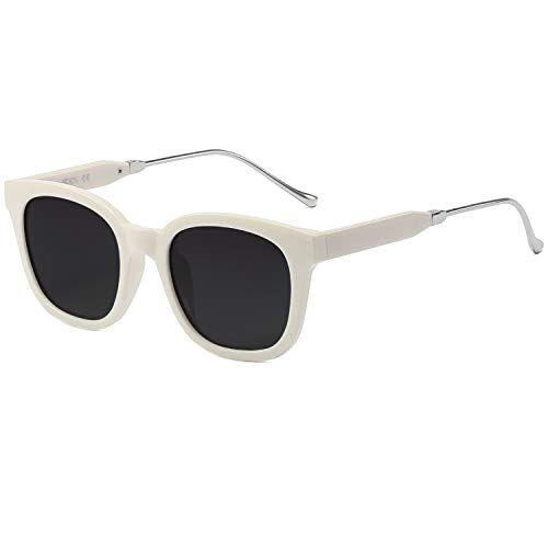 SOJOS Moda Vintage Occhiali da Sole Quadrati Polarizzate Uomo e Donna Unisex SJ2050 Con Crema Telaio/Grigio Polarizzata Lente