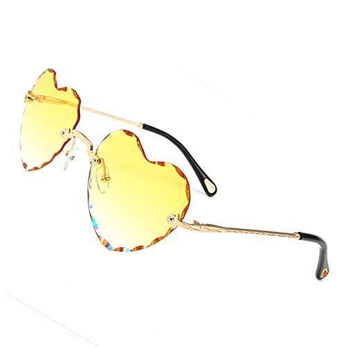 OGOBVCK a forma di cuore gli occhiali da sole di moda rimless lenti donne ragazza gradiente occhiali colorati (Yellow)