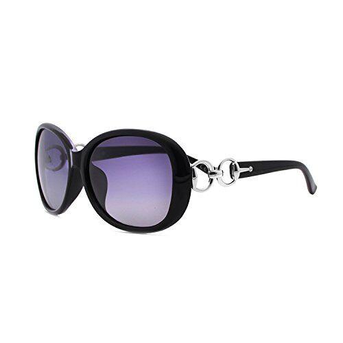 BVAGSS Grande Cornice Moda Occhiali Da Sole Donna Polarizzato Protezione UV (Black Frame Purple Lens)