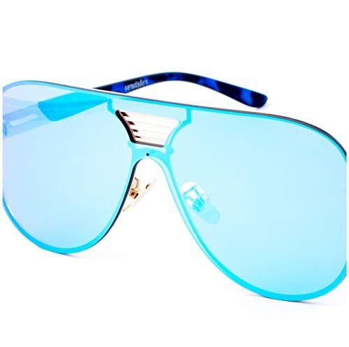 Verdster Occhiali da Sole da Uomo Blade Blu a Specchio Grandi Misura XL/molto grandi  Uno Stile Audace per Uomini alla Moda  Montatura Piatta Grande  Accessori Inclusi