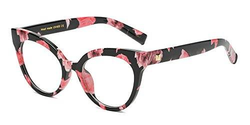 BOZEVON Donna Moda Classico Montatura Occhiali da Vista Occhiali con Lenti Trasparenti Occhio di gatto Occhiali, Fiore