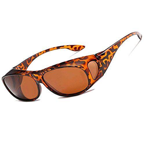 LEDING Occhiali da sole polarizzate per chi porta occhiali uomini donne,fit over chi porta occhiali Protezione UV400 Per Adulti,Ideali Per Bici,Corsa,Guida (leopard print)