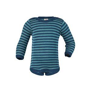 Engel - Body a maniche lunghe in lana vergine biologica e seta per bambini Ghiaccio/blu marino 62/68 cm