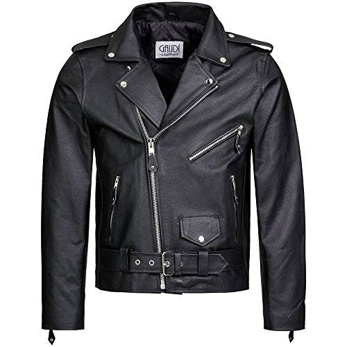 gaudì leathers motociclista giacca in pelle biker moto brando style uomo l