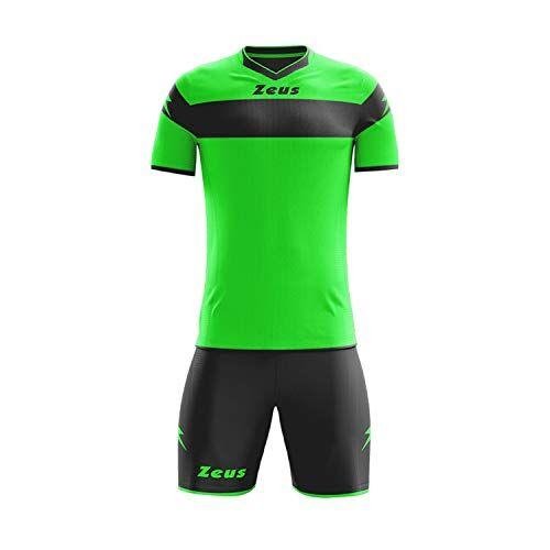 zeus, kit completo apollo, tuta integrale per torneo scolastico di calcio, verde fluo-nero, 2xl