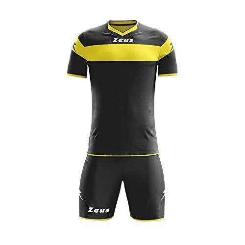 zeus, kit completo apollo, tuta integrale per torneo scolastico di calcio, nero-giallo, xl