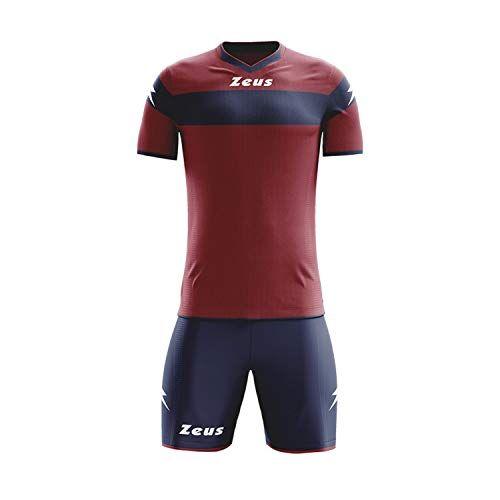 zeus, kit completo apollo, tuta integrale per torneo scolastico di calcio, blu-granata, l