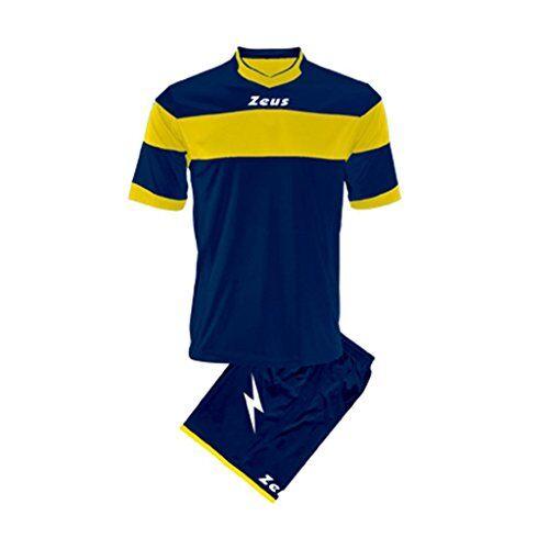 zeus, kit completo apollo, tuta integrale per torneo scolastico di calcio, blu-giallo, 2xl