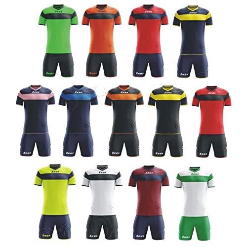 zeus, kit completo apollo, tuta integrale per torneo scolastico di calcio, bambino unisex adulto uomo ragazza donna, giallo fluo-blu, xs