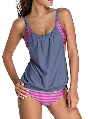 UMIPUBO Tankini Donne Beach Spiaggia Swimwear Due Pezzo Sexy Beachwear Moda Mare Costume da Bagno a Righe Bikini Beachwear