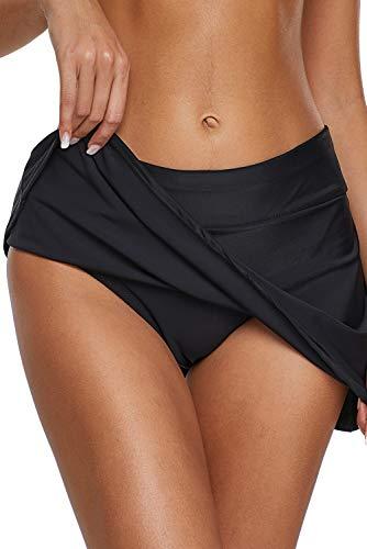 Dolamen Donna Pantaloni da Nuoto Gonna, Costumi da Bagno Donna Pantaloncini Bikini Costume Intero Moda da Bagno Shorts Swimwear Costume Mare (XXX-Large, Nero)
