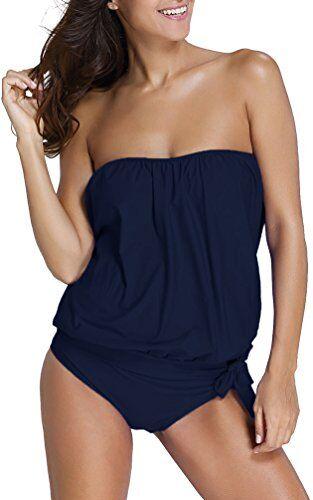 OLIPHEE Mare e Piscina Sportivo Tankini Bikini Donna Moda Due Pezzi Costume Costumi Blu Scuro 2XL