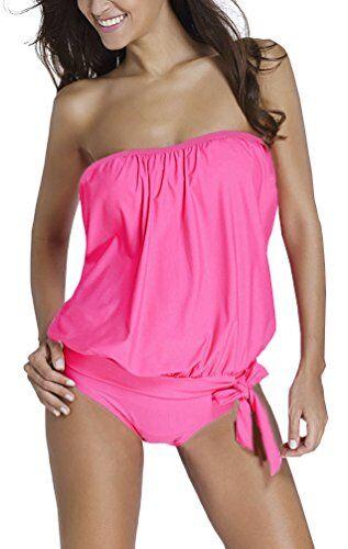 OLIPHEE Mare e Piscina Sportivo Tankini Bikini Donna Moda Due Pezzi Costume Costumi Rosa 3XL