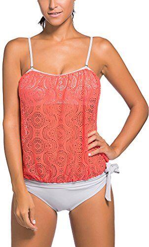 OLIPHEE Mare e Piscina Sportivo Tankini Bikini Donna Moda Due Pezzi Costume Costumi Arancione XL