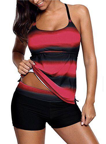 Sixyotie Donna Costumi da Bagno di Due Pezzi Strisce Colore Sfumato Due Pezzi Tankini Moda Boyshort (Rosso, EU40 (Tag XL))
