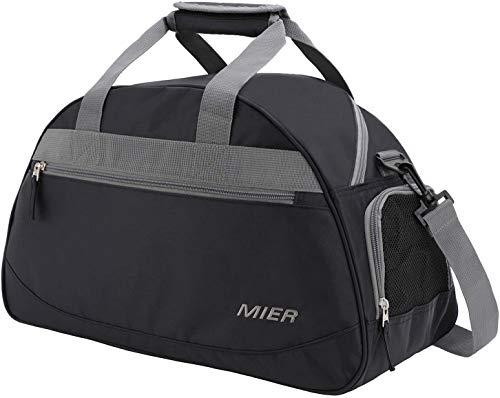 MIER Half Dome Gym Sport Borsa Weekend Borsone da viaggio con compartimento per scarpe per le donne e gli uomini, 2 colori, Nero