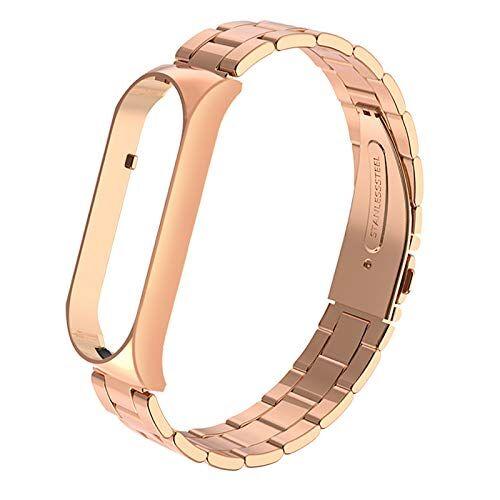 XUXN Cinturino di ricambio per Xiaomi Mi Band 5, cinturino di ricambio 16-22CM, doppio cinturino con fibbia elastica in acciaio inossidabile