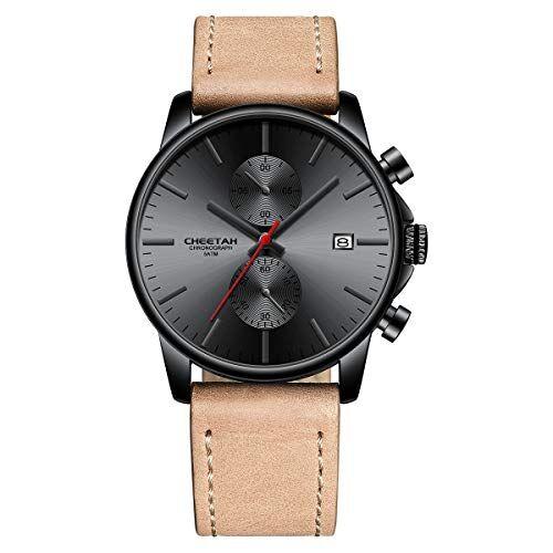 Affute Orologi al quarzo sportivi moda uomo con cinturino in pelle cronografo impermeabile, data automatica (Marrone Nero Rosso)