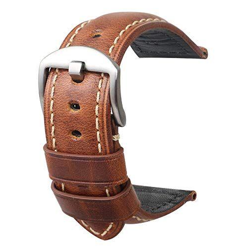 omyzam Cinturino per orologio da uomo in pelle Retro Strap Panerai Watch 20mm22mm24mm adatto per accessori per high-end tradizionali o cinturino sportivo moda smart cinturino in argento marrone 24mm