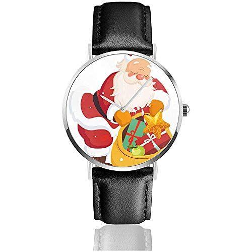 Meili Shop Orologi da polso, Babbo Natale in possesso di un sacco con giocattoli Orologio in pelle Moda Sport Orologio casual Orologio da polso nero