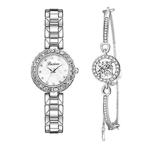 Clastyle Set di Orologi e Bracciali da Donna Orologio da Polso Strass Moda con Cinturino in Acciaio Argento