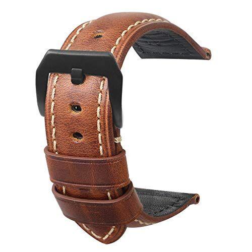 omyzamCinturino per orologio in pelle da uomo Retro Panerai Watch Watch 20mm 22mm 24mm adatto per accessori per orologi high-end tradizionali o cinturino sportivo moda smart marrone grande fibbia 22mm