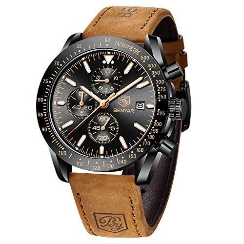 BY BENYAR Orologio Cronografo da Uomo Movimento al Quarzo Moda Sportivo Watch 30M impermeabile Elegante Regalo per Uomo (Marrone)